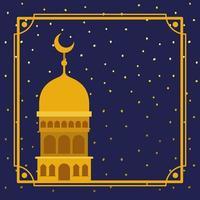 moldura com construção de mesquita dourada com céu de estrelas