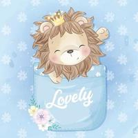 ilustração de leão fofo sentado dentro do bolso vetor