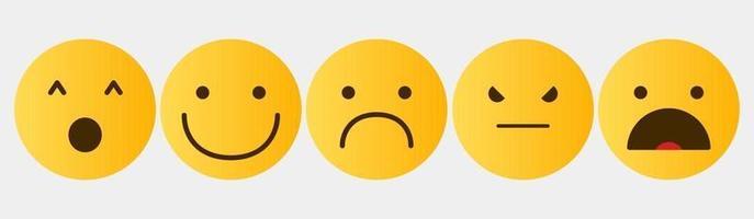 coleção de emoticons do conjunto de reação de design vetor