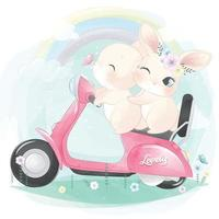ilustração de coelhinho fofo andando de moto vetor