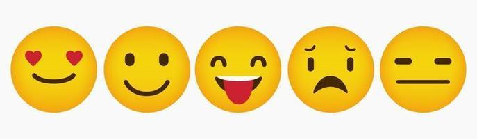 design de coleção de reação de emoticon simples vetor