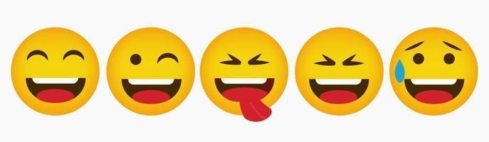 conjunto de coleção de emoticons de design de reação vetor