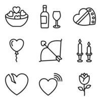pacote de ícones de linha de celebração do dia dos namorados vetor