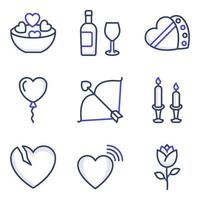 pacote de ícones de linhas coloridas de celebração do dia dos namorados vetor