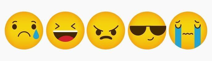design de coleção de reação plana emoticon vetor