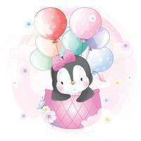 ilustração de um pinguim fofo voando em um balão de ar quente vetor