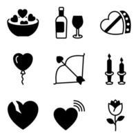 pacote de ícones sólidos de celebração do dia dos namorados vetor