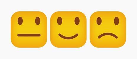 design de conjunto de reação emoticon quadrado - vetor