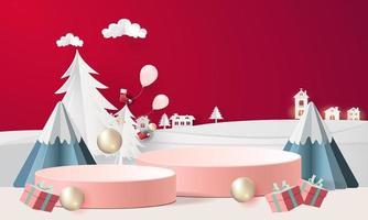 cena de natal com pódios, montanhas e presentes vetor