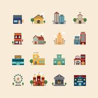 pacote de ícones da cidade de edifícios. vetor de design de linha plana