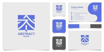 logotipo de seta abstrata de espaço negativo simples e minimalista com modelo de cartão de visita vetor