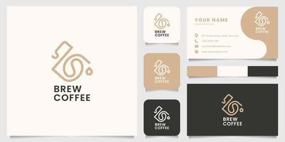 grão de café no logotipo da cafeteira com modelo de cartão de visita vetor