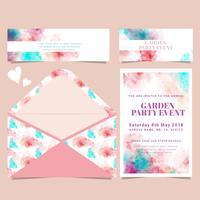 Cartão de aquarela de vetor e Envelope