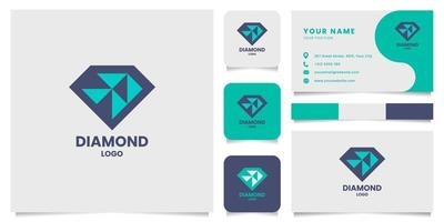 logotipo de diamante geométrico simples e minimalista com modelo de cartão de visita vetor