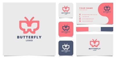 Logotipo de borboleta simples e minimalista com linhas em negrito e modelo de cartão de visita vetor