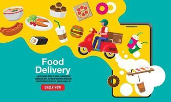 entrega de comida, vetor de design plano.