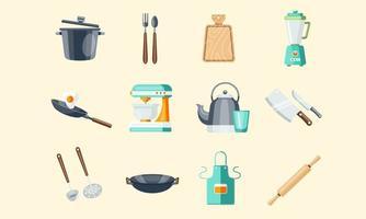 ilustração vetorial conjunto de utensílios de cozinha e utensílios vetor