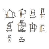 conjunto de ilustração vetorial de ferramentas de preparação manual de café