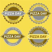 sinal e crachá do dia nacional da pizza vetor