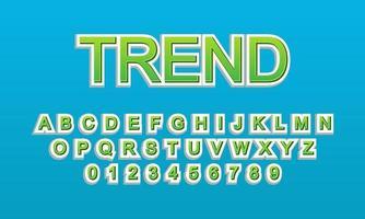 alfabeto de fonte de tendência de efeito de texto vetor
