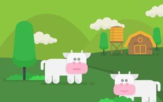 Ilustração de gado e fazenda de agricultura vetor