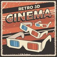poster retro de sinalização de óculos de cinema 3d vetor