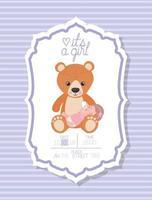 é um cartão de chá de bebê de menina com criança e ursinho de pelúcia vetor
