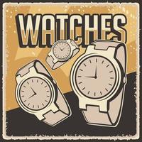 retro clássico vintage gadgets relógios relógio de pulso sinalização pôster vetor