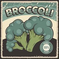 poster retro vintage de brócolis vegetal orgânico vetor