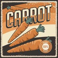 poster retro vintage de cenoura vetor