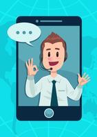 Caráter de serviço ao cliente do telefone vetor