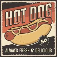pôster vintage retrô de cachorro-quente vetor