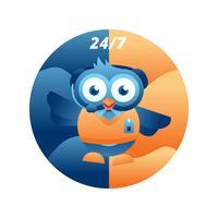 Atendimento ao Cliente Owl Character vetor