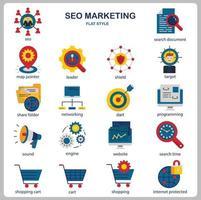 conjunto de ícones de marketing de seo para site, documento, design de cartaz, impressão, aplicativo. estilo simples do ícone do conceito de marketing seo. vetor