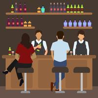 Ilustração em vetor cena plana lotada Bar