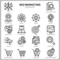 conjunto de ícones de marketing de seo para site, documento, design de cartaz, impressão, aplicativo. estilo de contorno do ícone do conceito de marketing seo. vetor