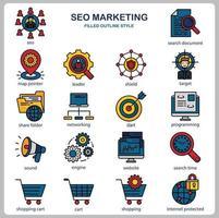 conjunto de ícones de marketing de seo para site, documento, design de cartaz, impressão, aplicativo. ícone do conceito de marketing seo preenchido estilo de contorno. vetor