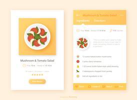 Receita de design de interface do usuário com vetor de ícone de App de comida
