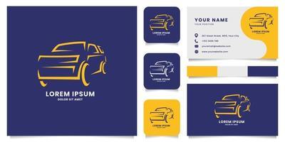 logotipo do carro de linha com modelo de cartão de visita vetor
