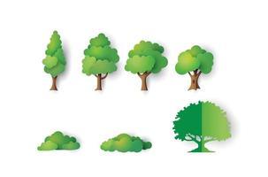 árvores de papel em um fundo branco vetor