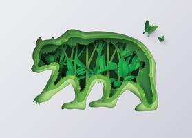 silhueta de urso cheia de plantas e árvores florestais vetor