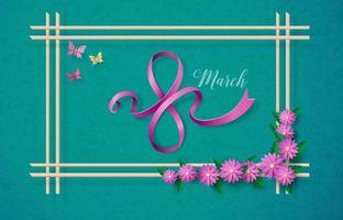 dia internacional da mulher 8 de março com moldura de flores e folhas vetor
