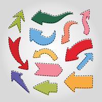 Pacote de adesivos de seta colorida vetor