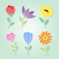 Pacote de flores desenhadas à mão vetor
