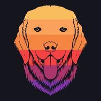 cão golden retriever, ilustração colorida retrô vetor
