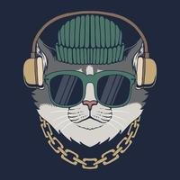 ilustração vetorial gato com fones de ouvido
