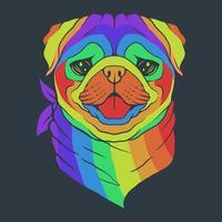 ilustração vetorial colorida de cabeça de cachorro pug