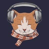 gato com fones de ouvido escuta música ilustração vetorial