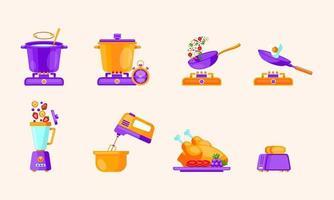 ilustração em vetor de utensílios de cozinha em estilo simples