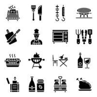 pacote de ícones sólidos de acampamento vetor